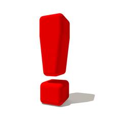 ! Punto esclamativo simbolo 3d rossa, isolato su fondo bianco