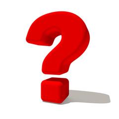 ? punto interrogativo simbolo 3d rosso, isolato su fondo bianco