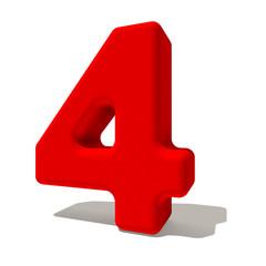 4 quattro numero 3d rosso, isolato su fondo bianco
