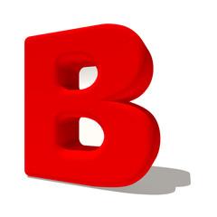 b bi lettera 3d rossa, isolata su fondo bianco