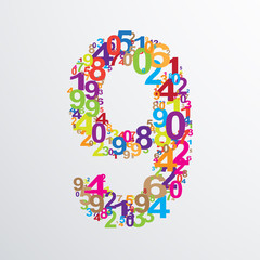 Vector number nine from numbers.