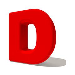 d di lettera 3d rossa, isolata su fondo bianco