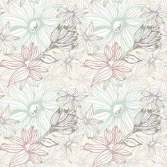Elegant seamless pattern with flowers