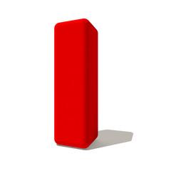i lettera 3d rossa, isolata su fondo bianco