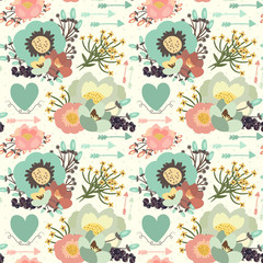 Elegant seamless pattern with blossom flowers, hearts and arrows