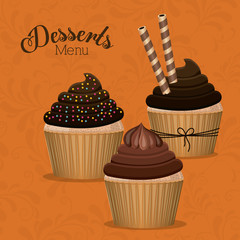 Desserts design, vector illustration.