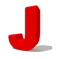 j lettera 3d rossa, isolata su fondo bianco