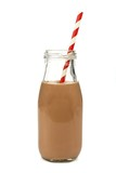 Chocolate milk with straw in a bottle isolated