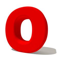 o lettera 3d rossa, isolata su fondo bianco
