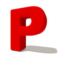 p pi lettera 3d rossa, isolata su fondo bianco