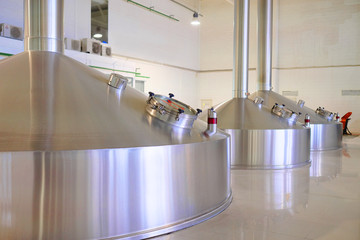 Steel tanks of a modern brewery