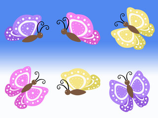 purple yellow and pink spring butterfly illustrations