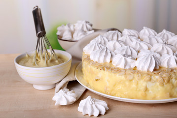 Tasty homemade meringue cake