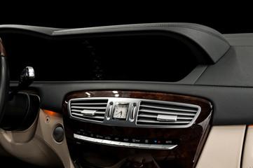 Business car dashboard interior. Horizontal photo.