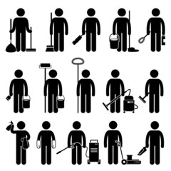 Cleaner Man with Cleaning Tools and Equipments Pictogram