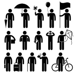 Man with Random Objects Pictogram