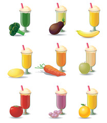 Various fruit and vegetable blended drink