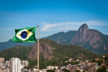 Brazil Flag and Corcovado Mountain with Christ the Redeemer