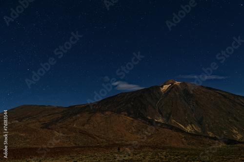 Leinwanddruck Bild Teide Volcano by night on Tenerife