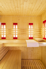 Interior of empty sauna