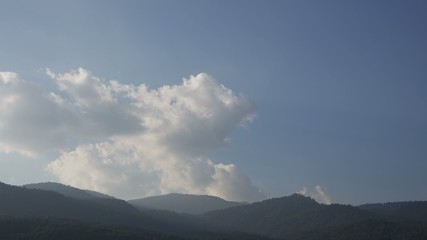 Time-lapse of cloud movement over mountain range