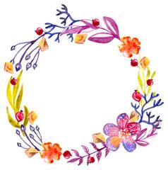 Watercolor floral frame, colorful natural illustration