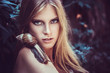 Blonde beautiful woman with fashion makeup and snails