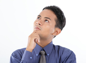 business man thinking, over white background
