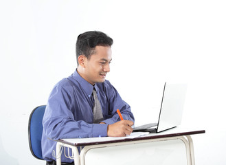 Conceptual image of a man writing document in business work