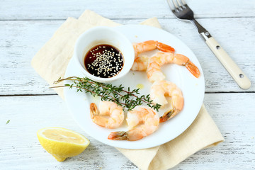 Tiger shrimps on a white plate