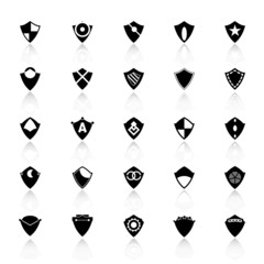 Design shield icons with reflect on white background