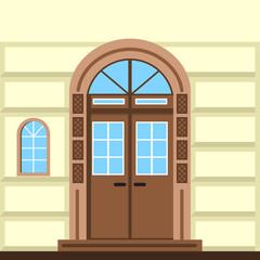 Flat illustration of commerce building facade door