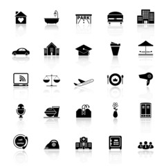 Hospitality business icons with reflect on white background