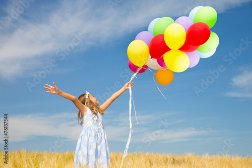 canvas print picture kind mit luftballons