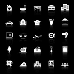 Hospitality business icons with reflect on black background