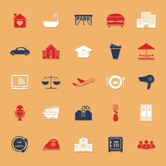 Hospitality business classic color icons with shadow