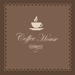 Vector background with a cup in brown tones