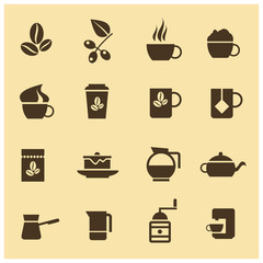 Vector icons of coffee