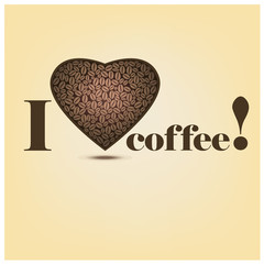 Vector coffee poster with a heart