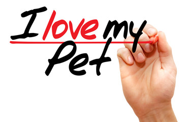 Hand writing I love my Pet with marker, concept