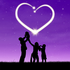 Family with shiny heart