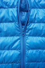 Close up of down jacket and zip