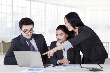 Female manager meeting with her partners
