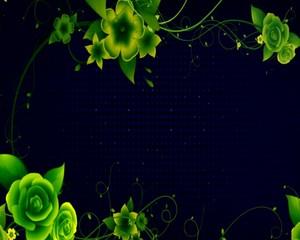 рамка с  зелёнными  цветами