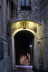 Streets of Girona, Catalonia at night