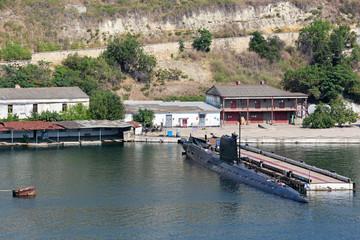Submarine. Sevastopol cityscape, republic Crimea