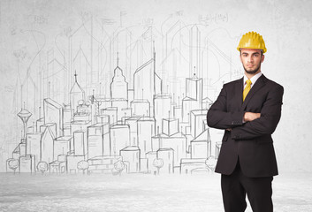 Construction worker with cityscape background