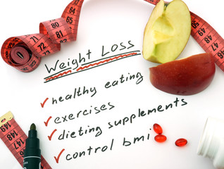 Weight loss, healthy eating, dieting supplements