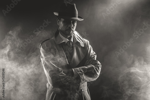 Mysterious man waiting in the fog - 76191346