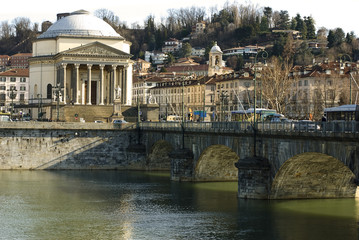 Bridge on the river po in Turin, Italy